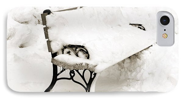 Take A Seat  And Chill Out - Park Bench - Winter - Snow Storm Bw Phone Case by Andee Design