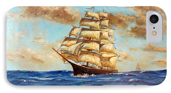 Tall Ship On The South Sea Phone Case by Lee Piper