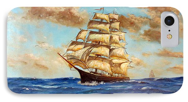 Tall Ship On The South Sea IPhone Case by Lee Piper