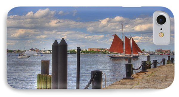 Tall Ship The Roseway In Boston Harbor IPhone Case by Joann Vitali
