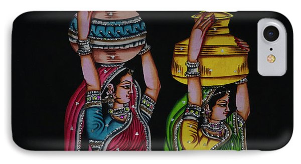 Tapestry Depicting Indian Girls IPhone Case by Keren Su