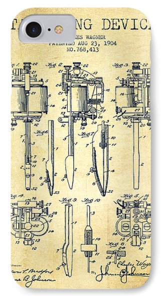 Tattooing Machine Patent From 1904 - Vintage IPhone Case by Aged Pixel