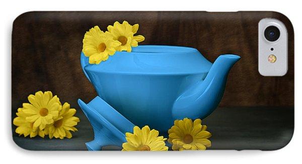 Tea Kettle With Daisies Still Life IPhone Case by Tom Mc Nemar