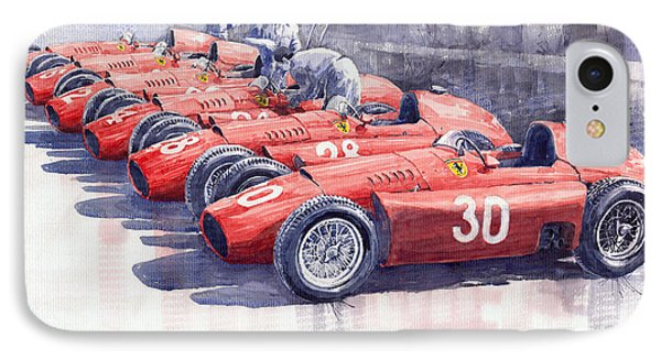 Team Lancia Ferrari D50 Type C 1956 Italian Gp IPhone Case by Yuriy  Shevchuk