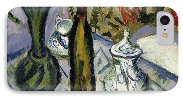 Teapot Bottle And Red Flowers IPhone Case by Ernst Ludwig Kirchner
