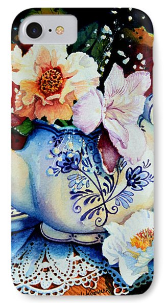 Teapot Posies And Lace IPhone Case by Hanne Lore Koehler