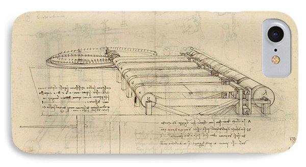 Teaselling Machine To Manufacture Plush Fabric From Atlantic Codex  IPhone Case by Leonardo Da Vinci