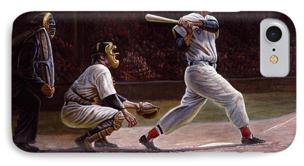 Ted Williams At Bat IPhone Case by Gregory Perillo