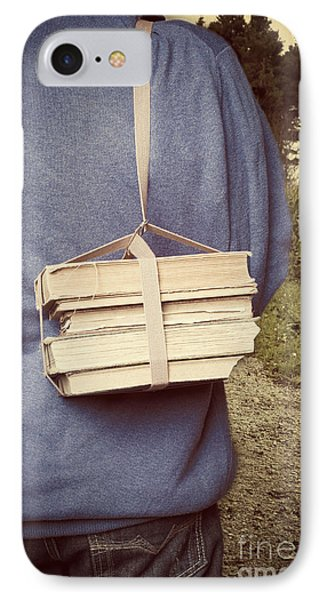 Teen Boy's Back With Books IPhone Case by Edward Fielding