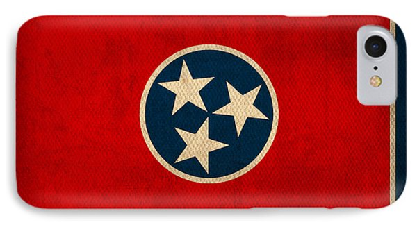 Tennessee State Flag Art On Worn Canvas IPhone Case by Design Turnpike
