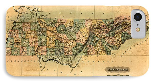 Tennessee Vintage Antique Map IPhone Case by World Art Prints And Designs