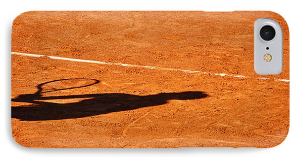 Tennis Player Shadow On A Clay Tennis Court Phone Case by Dutourdumonde Photography