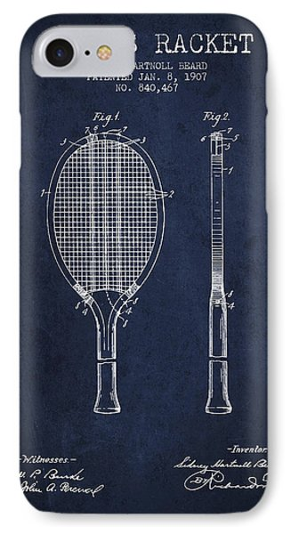 Tennis Racket Patent From 1907 - Navy Blue IPhone Case by Aged Pixel