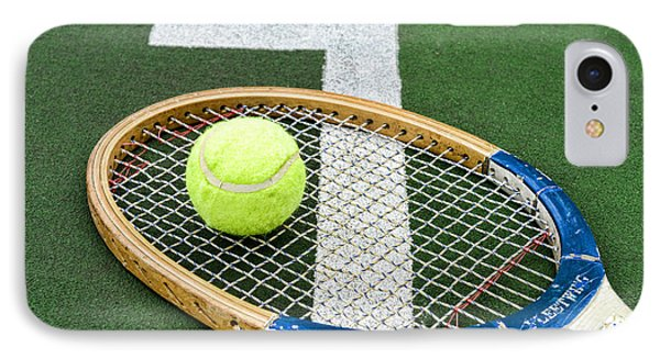 Tennis - Wooden Tennis Racquet IPhone Case by Paul Ward
