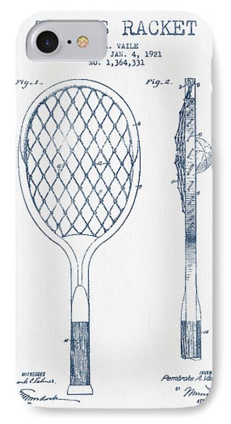 Tennnis Racketl Patent Drawing From 1921 -  Blue Ink IPhone Case by Aged Pixel