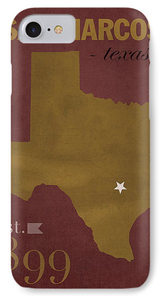 Texas State University Bobcats San Marcos College Town State Map Poster Series No 108 IPhone Case by Design Turnpike