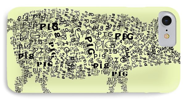 Text Pig Phone Case by Heather Applegate
