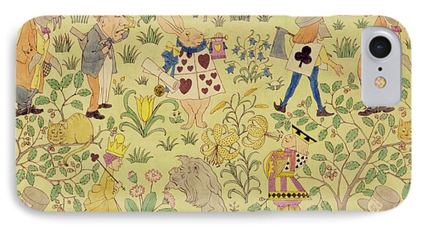 Textile Design For Alice In Wonderland IPhone Case by Voysey