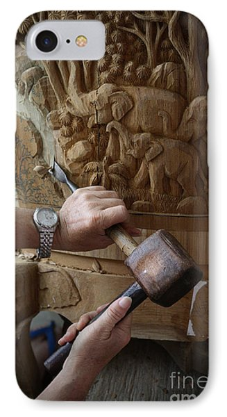 Thai Woodworker IPhone Case by Inge Johnsson