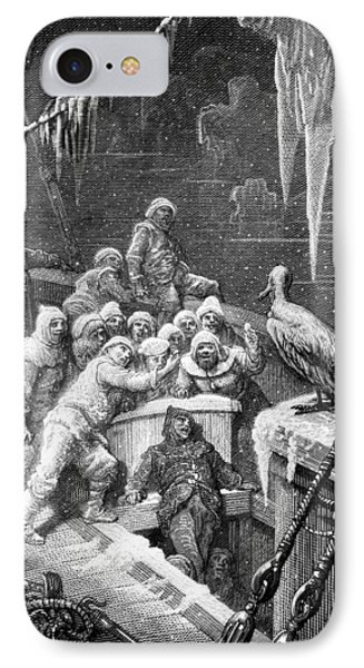 The Albatross Being Fed By The Sailors On The The Ship Marooned In The Frozen Seas Of Antartica IPhone 7 Case by Gustave Dore