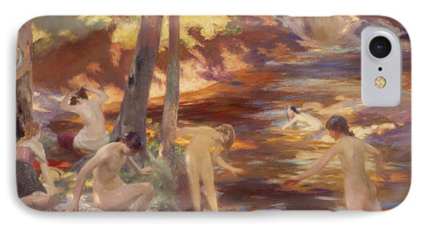 The Bathing Pool IPhone Case by Charles Hodge Mackie