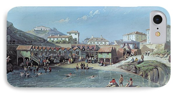 The Beginning Of Sea Swimming In The Old Port Of Biarritz  Phone Case by Jean Jacques Alban de Lesgallery