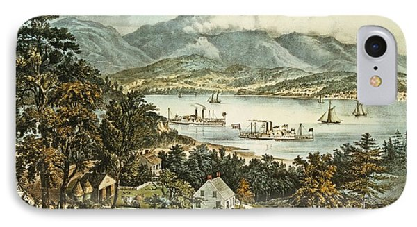 The Catskill Mountains From The Eastern Shore Of The Hudson IPhone Case by Currier and Ives