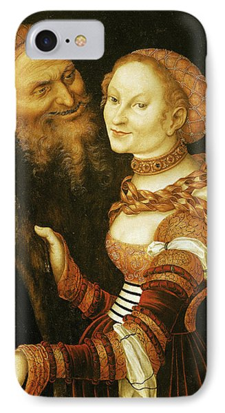 The Courtesan And The Old Man, C.1530 Oil On Canvas IPhone Case by Lucas, the Elder Cranach