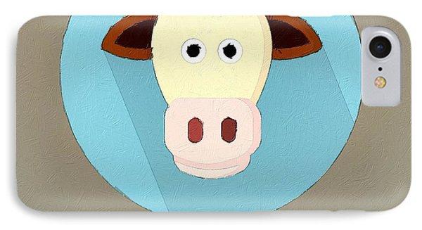 The Cow Cute Portrait IPhone Case by Florian Rodarte