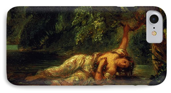 The Death Of Ophelia, 1844 IPhone Case by Ferdinand Victor Eugene Delacroix