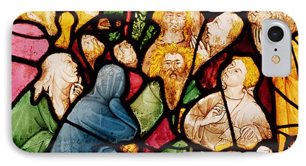 The Descent Of The Holy Spirit, C.1400 Stained Glass IPhone Case by French School