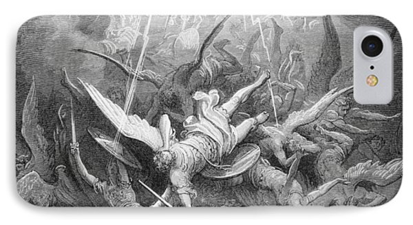 The Fall Of The Rebel Angels IPhone Case by Gustave Dore