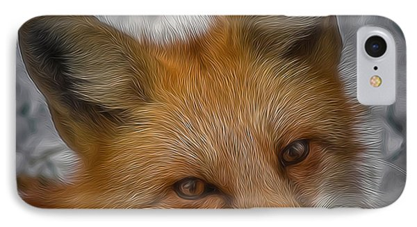 The Fox 4 Digital Art IPhone Case by Ernie Echols