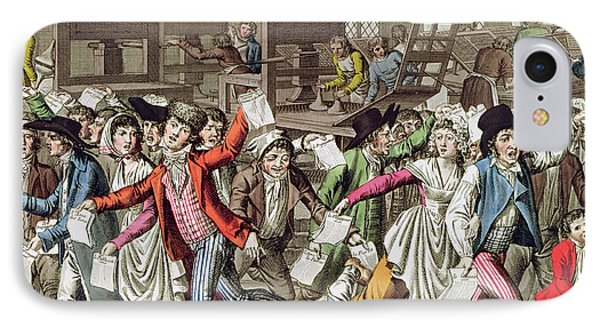 The Freedom Of The Press, 1797 Coloured Engraving IPhone Case by French School