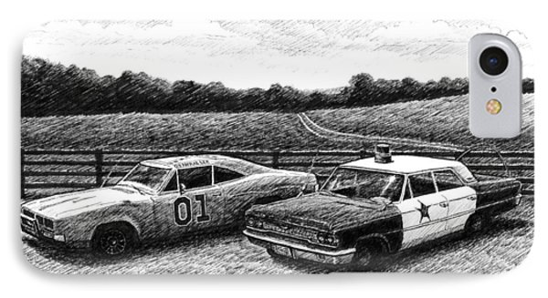 The General Lee And Barney Fife's Police Car IPhone Case by Janet King