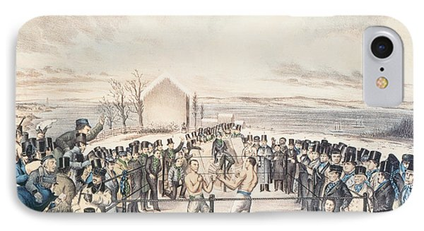 The Great Fight Between Tom Hyer And Yankee Sullivan IPhone Case by James S Baillie