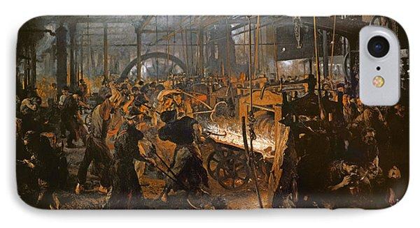 The Iron-rolling Mill Oil On Canvas, 1875 IPhone 7 Case by Adolph Friedrich Erdmann von Menzel