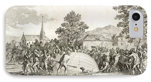The Landing Of A Balloon IPhone Case by British Library