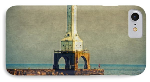 The Lighthouse And The Fisherman Phone Case by Mary Machare