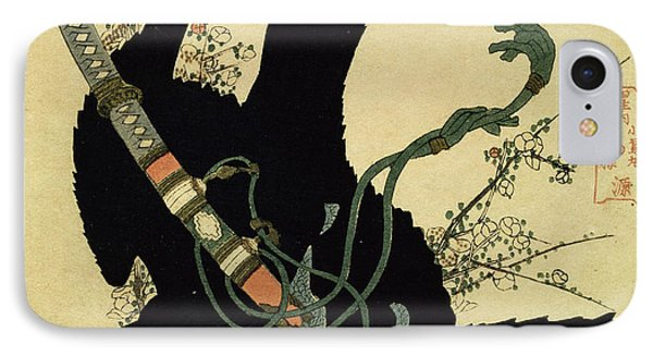 The Little Raven With The Minamoto Clan Sword IPhone Case by Katsushika Hokusai