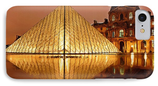 The Louvre By Night IPhone Case by Ayse Deniz