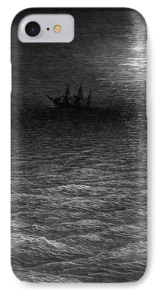 The Marooned Ship In A Moonlit Sea Phone Case by Gustave Dore