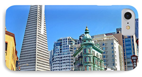 The Old And The New The Columbus Tower And The Transamerica Pyramid II Phone Case by Jim Fitzpatrick