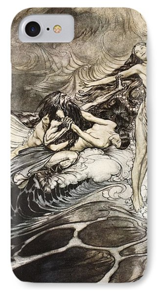 The Rhinemaidens Obtain Possession Of The Ring And Bear It Off In Triumph IPhone Case by Arthur Rackham