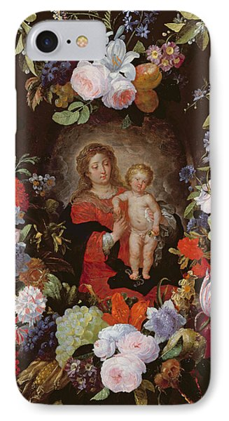 The Virgin And Child With A Garland Of Flowers Oil On Panel IPhone Case by Gerard Seghers