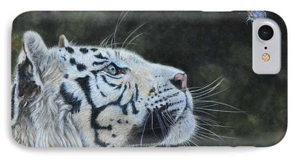The White Tiger And The Butterfly Phone Case by Louise Charles-Saarikoski