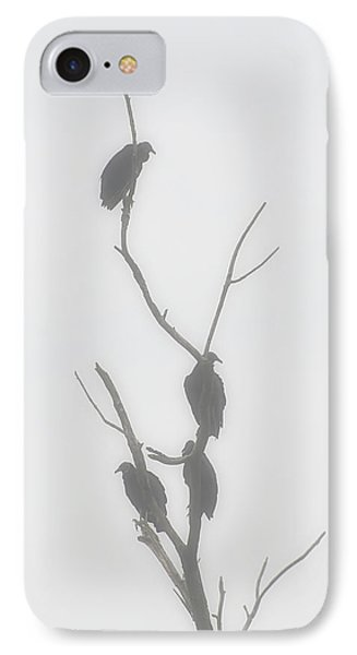 Their Waiting Four Black Vultures In Dead Tree IPhone Case by Chris Flees