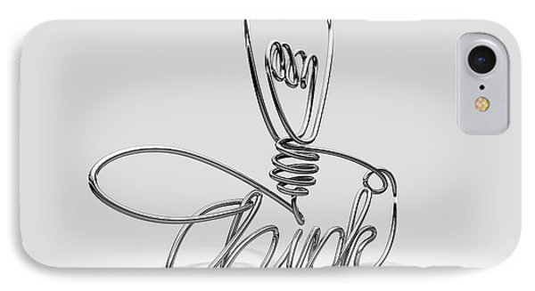 Think Bent And Shaped  Wire Lightbulb IPhone Case by Allan Swart
