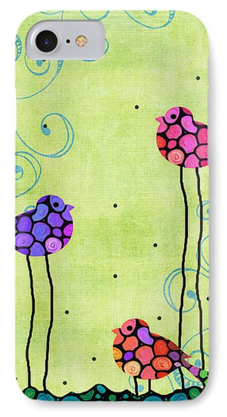 Three Birds - Spring Art By Sharon Cummings IPhone 7 Case by Sharon Cummings
