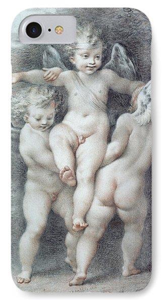 Three Cupids IPhone Case by Giovanni Battista Cipriani